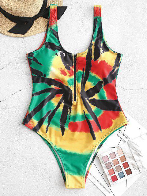 ZAFUL Una Pieza de Tie-dye con Media Cremallera - Multicolor-A XL Mobile