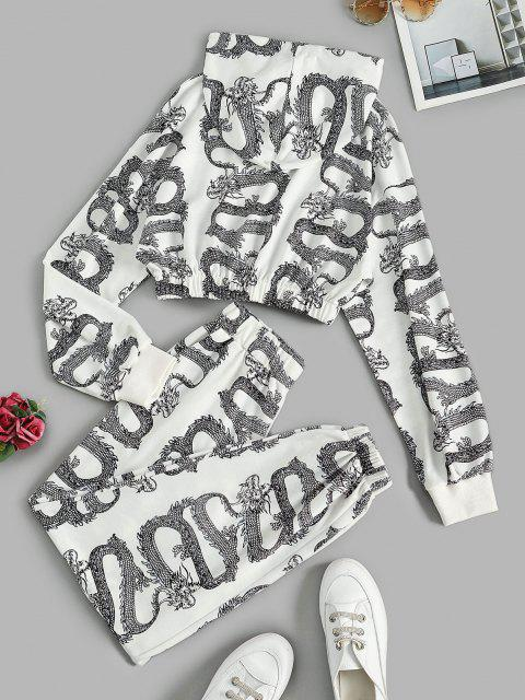 sale Dragon Oriental Cropped Sweat Two Piece Set - WHITE S Mobile