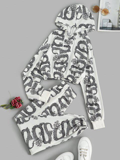 ladies Dragon Oriental Cropped Sweat Two Piece Set - WHITE M Mobile