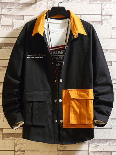 Jaqueta de Ombro de Gota de Bolso de Aba de Dois Tons - Preto 3XL Mobile