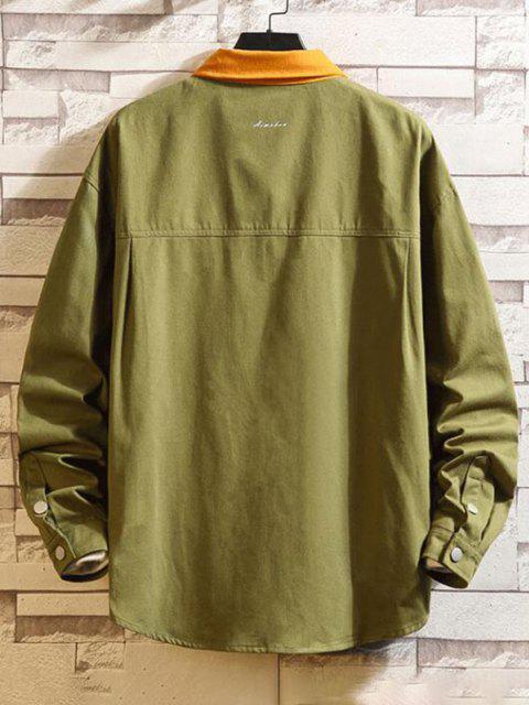 lady Two Tone Flap Pockets Drop Shoulder Jacket - ARMY GREEN 2XL Mobile