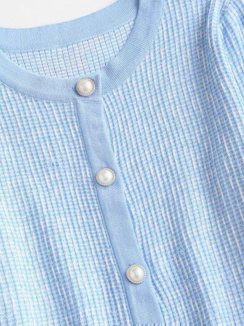 online Faux Pearl Button Slim Textured Cardigan - LIGHT BLUE ONE SIZE Mobile