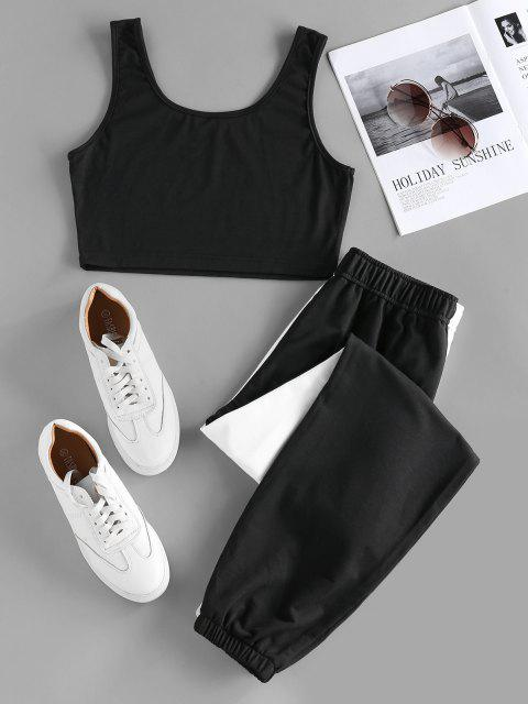hot ZAFUL Two Tone Sleeveless High Waisted Pants Set - MULTI M Mobile