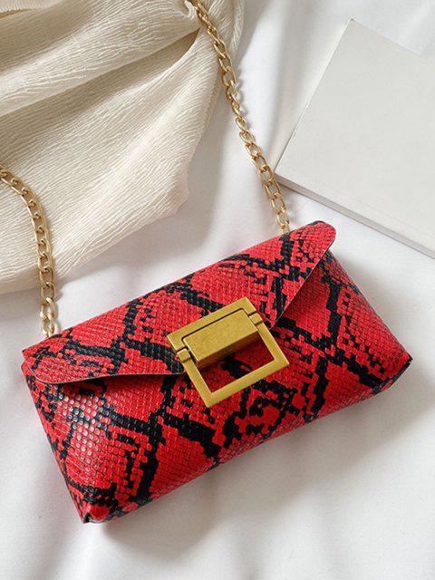 trendy Snakeskin Pattern Crossbody Waist Bag - RED  Mobile