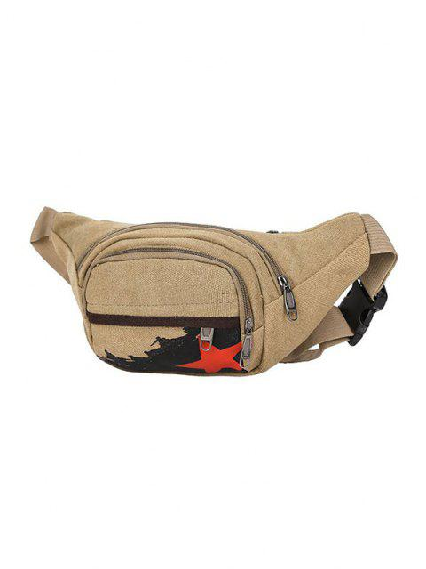 shop Star Pattern Canvas Leisure Chest Bag - LIGHT COFFEE  Mobile