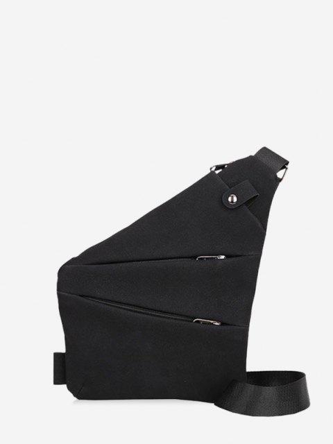latest Multi Zip Pockets Geometric Chest Bag - BLACK  Mobile