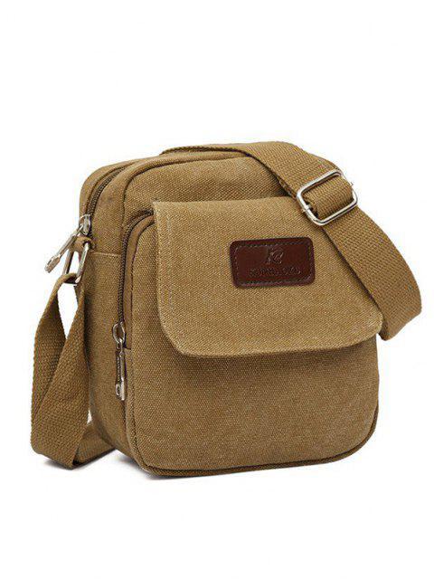 sale Mini Canvas Leisure Crossbody Bag - LIGHT COFFEE  Mobile