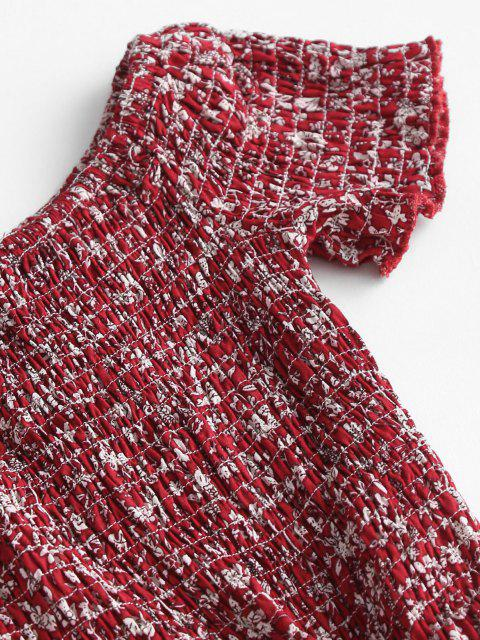 fashion Ditsy Floral Smocked Off Shoulder Slit Dress - RED XS Mobile