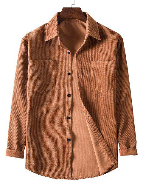 hot Solid Color Pockets Button Up Corduroy Shirt - BROWN M Mobile