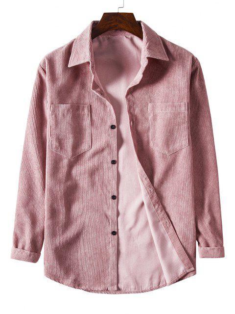 Solid Color Pockets Button Up Corduroy Shirt - زهري 2XL Mobile