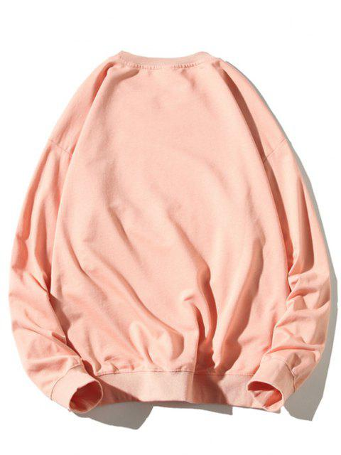Sweat-shirt Graphique Chien Dessin Animé Imprimé à Ourlet Côtelé - Rose clair XL Mobile