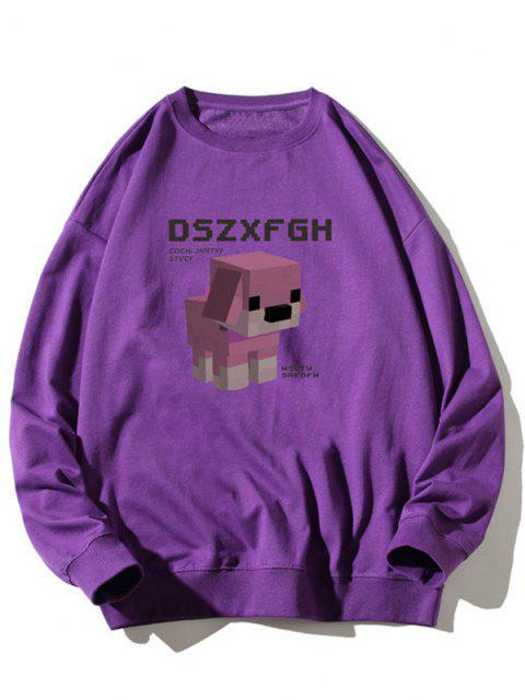 sale Cartoon Dog Print Rib-knit Trim Graphic Sweatshirt - PURPLE 2XL Mobile