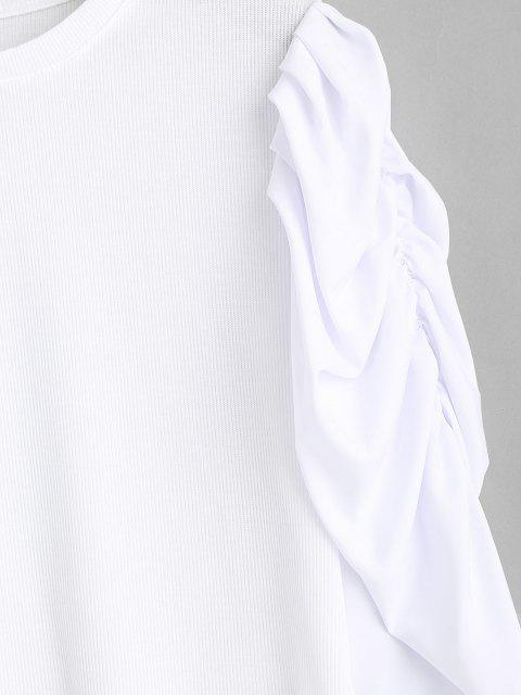 women Ribbed Gathered Puff Sleeve Top - WHITE S Mobile