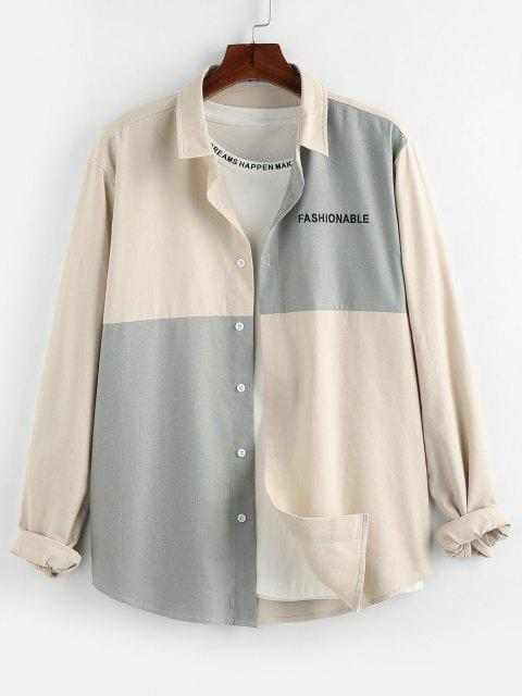 best ZAFUL Colorblock Panel Letter Embroidery Shirt - MULTI S Mobile