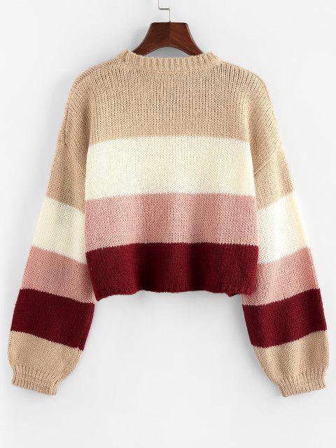 sale ZAFUL Colorblock Drop Shoulder Crop Sweater - LIGHT PINK L Mobile