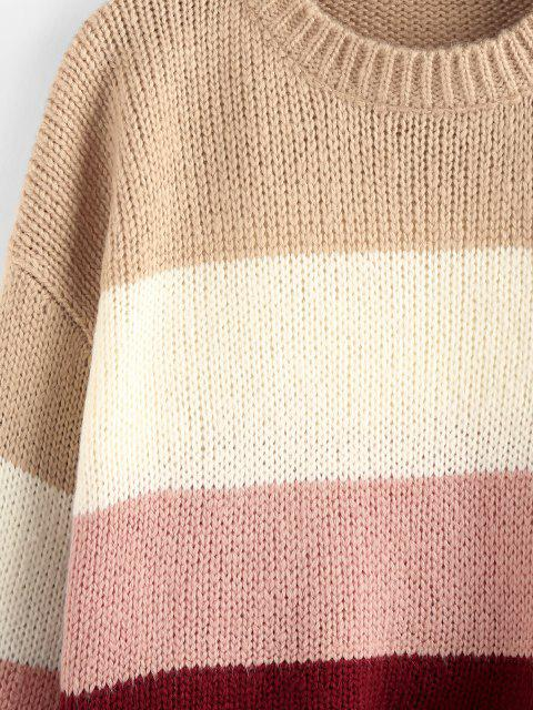 ZAFUL Farbblock Hängender Schulter Crop Pullover - Hell-Pink M Mobile