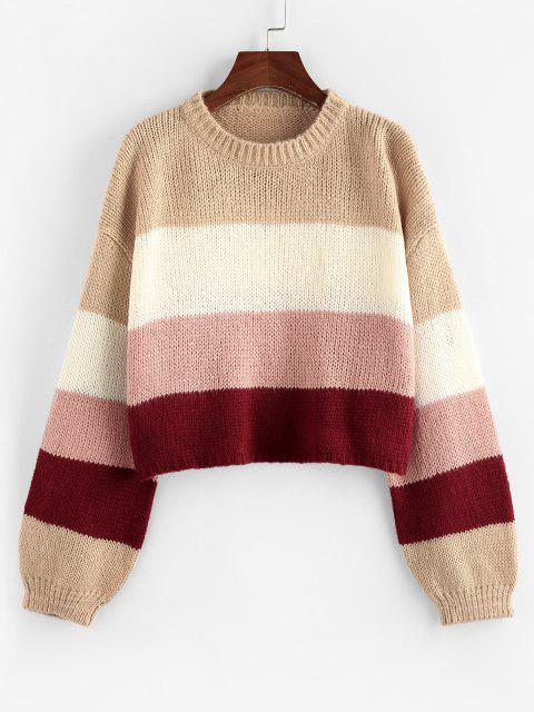 hot ZAFUL Colorblock Drop Shoulder Crop Sweater - LIGHT PINK S Mobile