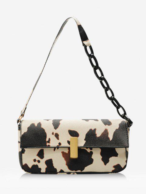 shop Cow Printed Chain Shoulder Bag - LIGHT YELLOW  Mobile