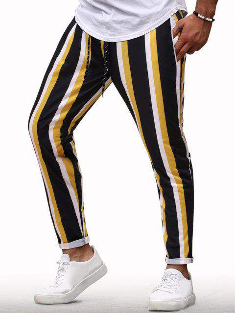 Pantalones Lápiz Casual Rayas Verticales y Cordón - Amarillo XL Mobile