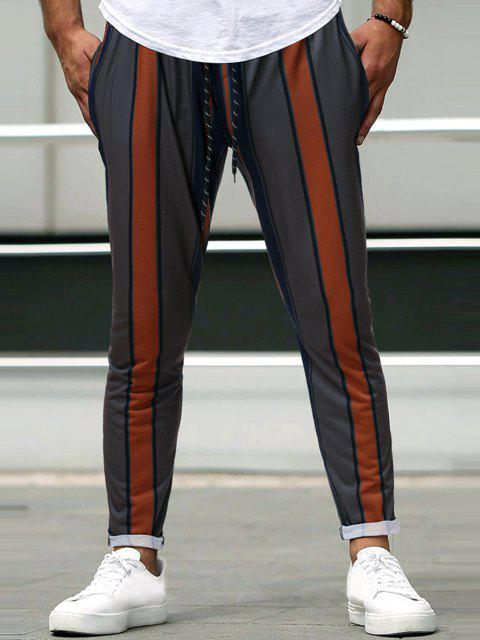 fashion Vertical Striped Drawstring Casual Pencil Pants - TIGER ORANGE S Mobile
