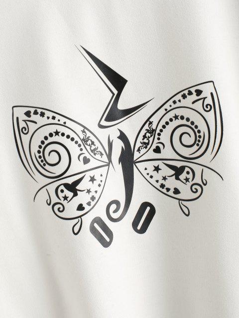 unique Crew Neck Creative Butterfly Graphic Sweatshirt - WHITE XL Mobile
