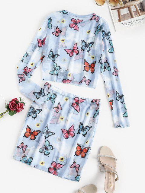 trendy Sunflower Butterfly Sheer Mesh Two Piece Dress - LIGHT BLUE S Mobile