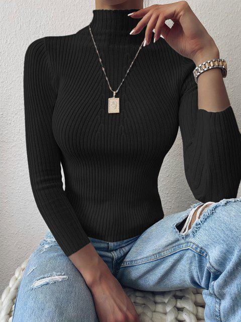 Pulover Mock Neck Plain Slim Pulover - Negru O marime Mobile