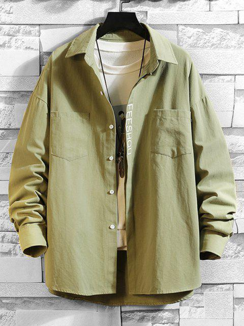 buy Figure Sketch Letter Print Pocket Patch Shirt - JUNGLE GREEN 3XL Mobile