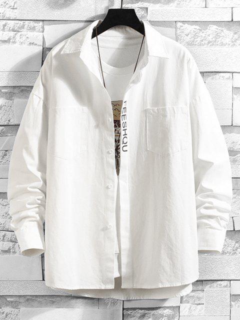 affordable Figure Sketch Letter Print Pocket Patch Shirt - WHITE 2XL Mobile