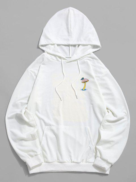 trendy Mushroom Graphic Pouch Pocket Pullover Hoodie - WHITE XL Mobile
