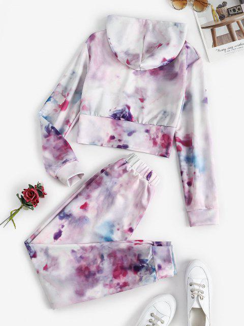 hot Zip Up Tie Dye Sweat Two Piece Set - MULTI S Mobile