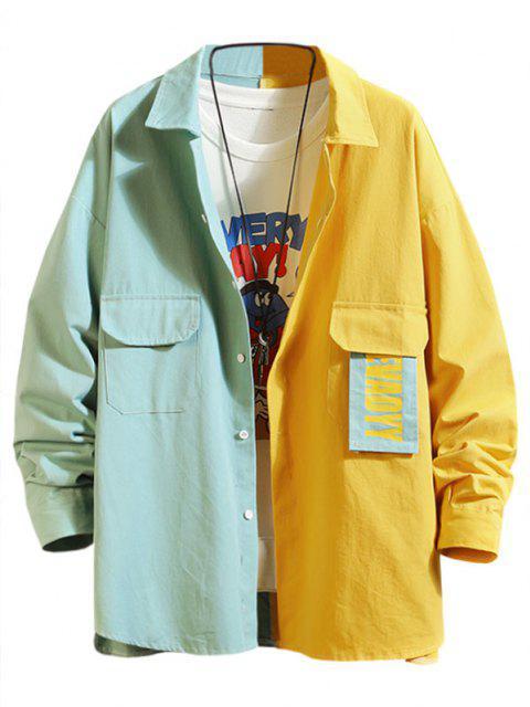 Veste Chemise Jointif LettrePanneauen Blocs de Couleurs - Turquoise Foncée 2XL Mobile