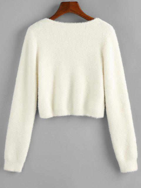 chic ZAFUL Fuzzy Knit Knotted Short Sweater - WHITE S Mobile