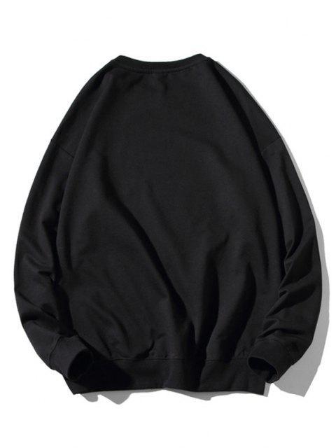 outfits Graphic Earth Print Rib-knit Trim Sweatshirt - BLACK XL Mobile