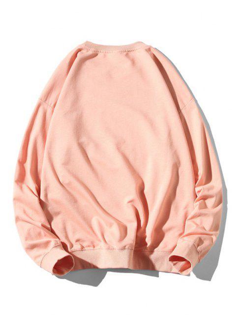 chic Graphic Earth Print Rib-knit Trim Sweatshirt - LIGHT PINK M Mobile
