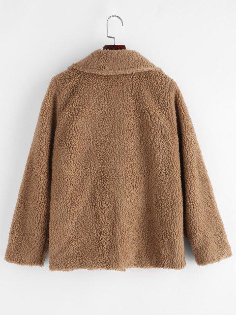 Zip Up Flap Pocket Teddy Coat - BROWN XXL Mobile