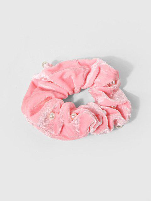Faux Pearl Velour Fabric Scrunchie - وردي فاتح  Mobile