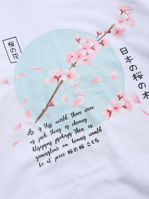 hot Sakura Letter Graphic Streetwear Hoodie - WHITE L Mobile