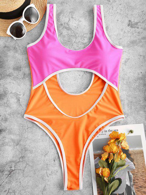 new ZAFUL Neon Binding Two Tone Cutout One-piece Swimsuit - MULTI S Mobile