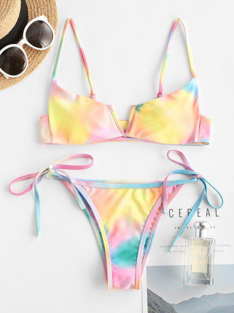 best ZAFUL Tie Dye V Wired Tanga Bikini Swimwear - MULTI S Mobile