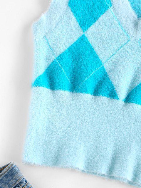 outfits ZAFUL Fuzzy Argyle Knit V Neck Vest - LIGHT BLUE L Mobile
