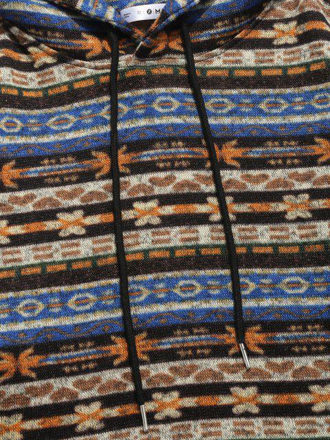 latest ZAFUL Tribal Pattern Kangaroo Pocket Fleece Hoodie - MULTI S Mobile