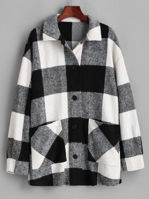 outfit ZAFUL Plaid Button Up Oversized Wool Blend Coat - BLACK M Mobile