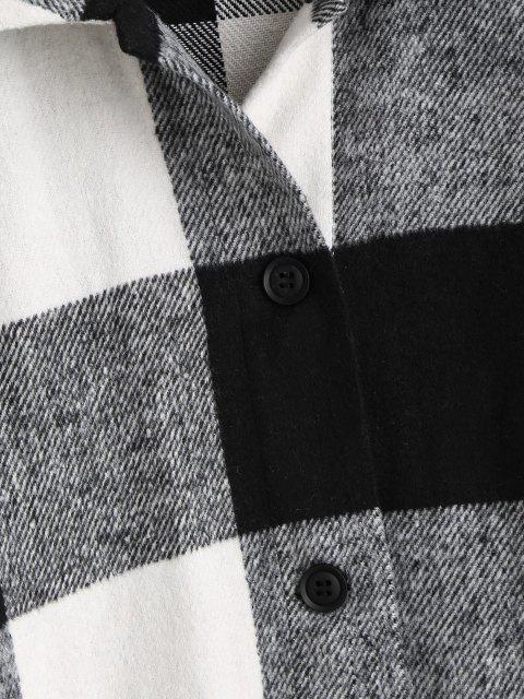 unique ZAFUL Plaid Button Up Oversized Wool Blend Coat - BLACK L Mobile