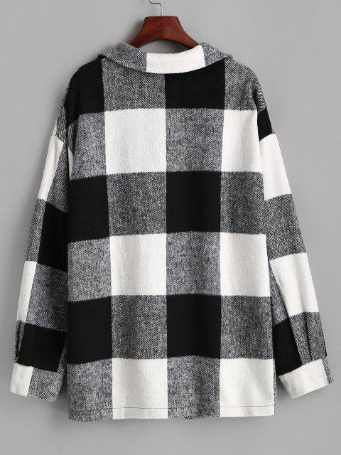 women's ZAFUL Plaid Button Up Oversized Wool Blend Coat - BLACK S Mobile