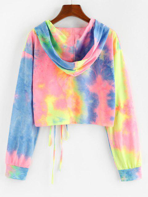 ZAFUL Tie Dye Cinched Cropped Hoodie - متعدد S Mobile