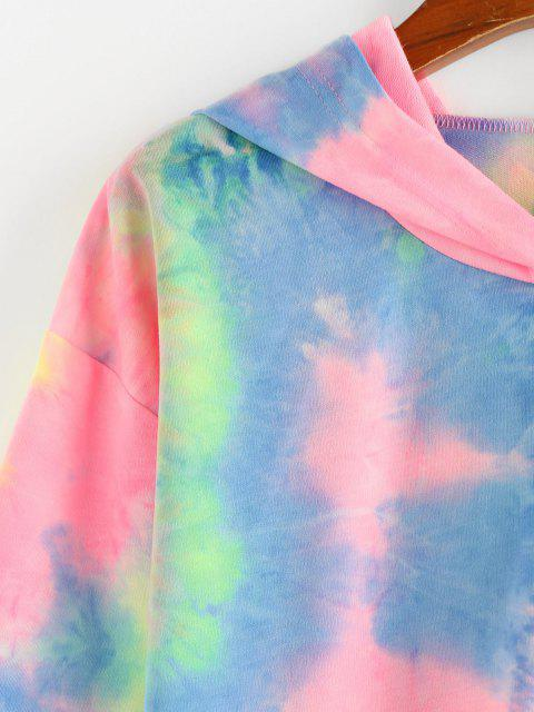 hot ZAFUL Tie Dye Cinched Cropped Hoodie - MULTI L Mobile