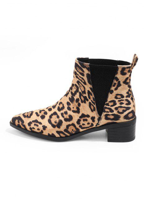 affordable Leopard Print Pointed Toe Chelsea Boots - MULTI-A EU 38 Mobile