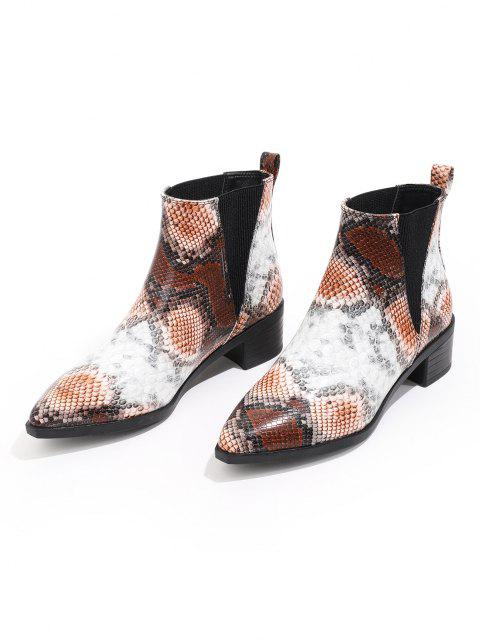 ladies Snakeskin Print Pointed Toe Chelsea Boots - MULTI-A EU 38 Mobile
