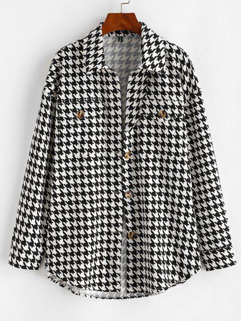 Flap Pockets Houndstooth Cargo Shacket - أسود S Mobile